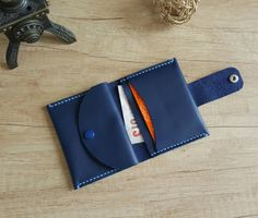 Handmade bifold small leather wallet with by ATLeatherBoutique