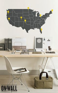 Large Vinyl Wall Usa Map Decal - United States Wall Sticker With The Point Signs…