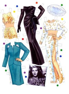 Celebrity dolls made of paper / paper dolls with clothes Paper Doll Craft, Doll Crafts, Paper Toys, Diy Doll, Paper Paper, Paper Crafts, Rita Hayworth, Barbie Paper Dolls, Vintage Paper Dolls