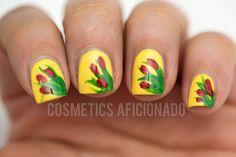 Tulips Nail Art on Yellow Nails   #yellowpolish #tulipnailart - bellashoot.com