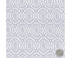 Silver Medallion Style Embroidered Lace Fabric with Circular Pattern for Bridal Gowns, Tops, Table Runners, Weddings