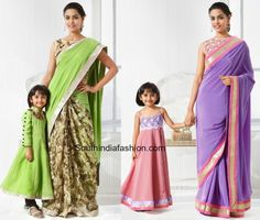 mother_daughter_matching_indian_dresses_outfits