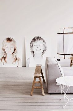 Use oversized portraits of your kids as stunning decor pieces in a minimalist space #PPEvents