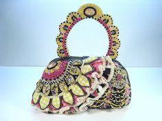 Vintage Retired Mary Frances Spanish Flair Beaded Design Handbag Purse