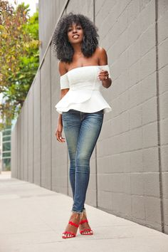 StylePantry - Off Shoulder Peplum Top + Ankle Length Jeans