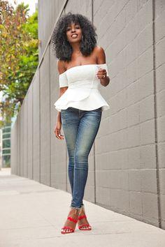 Off Shoulder Peplum Top + Ankle Length Jeans (via Bloglovin.com )
