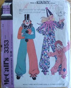 Vintage Sewing Pattern McCall's 3353 // Boys and Girls Clown Costume // size 2-4 // Halloween