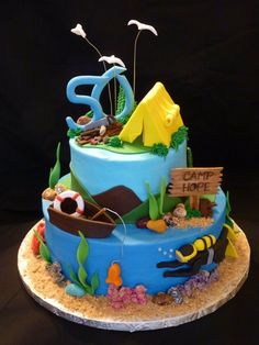 Birthday cake Fishing ✅ Best 79 ideas of Birthday cake Fishing 2019 with our website HD Recipes. Birthday Cakes For Men, Fish Cake Birthday, 50th Birthday, Dad Cake, 50th Cake, Cupcakes, Cupcake Cakes, Camping Cakes, Nautical Cake