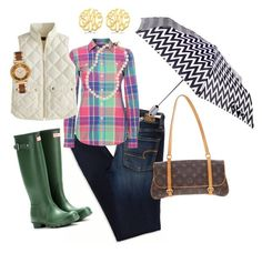 """""""Rainy Day Rendezvous"""" by kelly-davis-jones ❤ liked on Polyvore featuring American Eagle Outfitters, Hunter, ShedRain, Polo Ralph Lauren, J.Crew, Allurez, Brooks Brothers, Louis Vuitton and Michael Kors"""