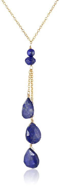 Gold-Plated Sterling Silver and Lapis Lazuli Drop Necklace, 18""