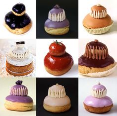 Religieuses - French pastry made of two choux pastry cases, one larger than the other, filled with crème pâtissière