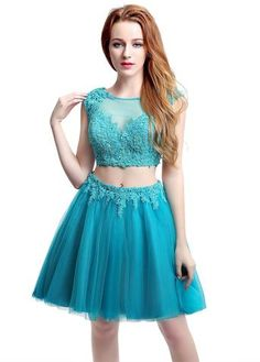 Sexy Two Pieces Teal Short Homecoming Dresses 2017 New Fashion Tulle Party Gowns with Appliques Vestido De Festa Teal Homecoming Dresses, Cheap Prom Dresses, Short Dresses, Dresses 2016, Beautiful Prom Dresses, Pretty Dresses, Types Of Skirts, Fashion 2020, Women's Fashion
