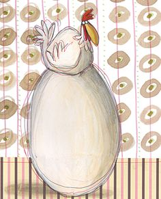 Anna laura Cantone Chickens And Roosters, Pet Chickens, Chicken And Cow, Cute Illustration, Art Illustrations, Sculpture Painting, Cute Doodles, Installation Art, Farm Animals