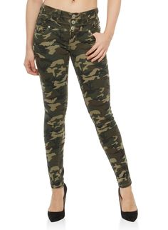 e0ea1082fb9 Almost Famous 3 Button Camo Jeans - Green - Size 7 Rainbow Shop