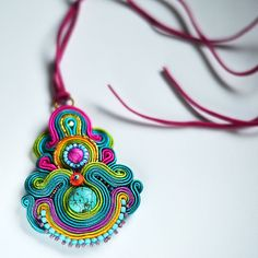 Very large colorful Pendant Soutache. Bollywood by QlkaArt on Etsy