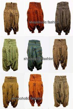 Stonewash Cotton Stripes Harem Trouser,Loose Multicolour Hippy Pants,Hippie,Boho