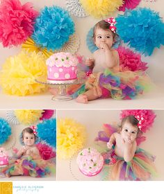 rainbow polka dot cake smash, one year cake smash, polka dot smash cake