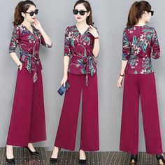 Women's New Suit Fashion Loose Thin Temperament Season Goddess Wide Leg Pants Two Sets Of Tide look chipper and natural. NewChic has a lot of women T-shirts online for your choice, believe you will find your cup of tea. Long Sleeve Maxi, Maxi Dress With Sleeves, The Dress, Sharara Designs, Suit Fashion, Fashion Pants, Fashion Outfits, Classy Outfits, Chic Outfits