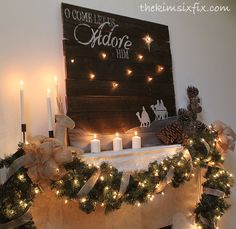 Christmas Mantle With Illuminated Reclaimed Lumber Sign