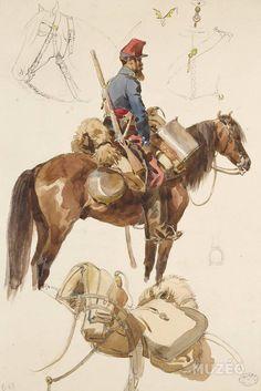 French; Chasseurs d'Afrique, Tenue de Campagne, c.1870 by H.Lalisse