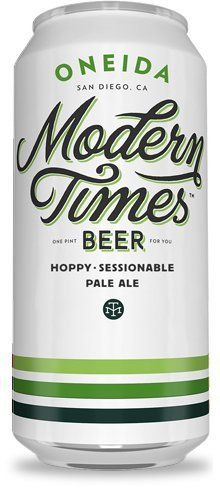 """Oneida """"is Hallertau Blanc-centric. The bright tropical fruit and lemongrass notes give it an uber-pungent aroma, with the grapefruity citrus of Cascade providing a touch of balance."""" Modern Times Beer, San Diego, CA (16oz 5.2%) Oct 2016"""
