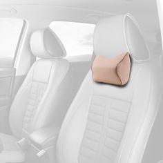 "Car Memory Foam Neck Support Pillow Kit Cervical Pad Cushion Pain Relief Backrest for Travel Rest Beige 10.6""x 8.7""x4.7"""