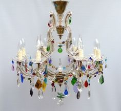 8 arm prism marie therese with multi coloured drops | The Vintage Chandelier Company
