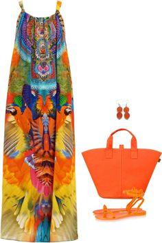 SevenRoses: Camilla Franks, Embellished Printed Silk Maxi Dress