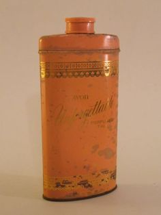 VINTAGE AVON PINK GOLD UNFORGETTABLE PERFUMED TALC TALCUM POWDER TIN