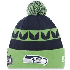 a8965114591 Mens Seattle Seahawks New Era College Navy Super Bowl XLVIII Champions Knit  Hat