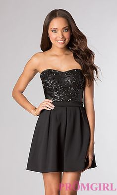 Short Party Dress with Removable Straps at PromGirl.com