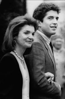 Jackie and John in front of St. Francis Xavier Church in Hyannis Port, MA. after the wedding of Maria Shriver and Arnold Schwarzenegger on April 26, 1986.