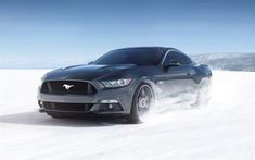 Best Sports Cars : Illustration Description Ford Mustang, 2018, gray sports coupe, winter driving, snow riding, sports car, USA, Ford