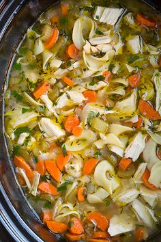 Slow Cooker Chicken Noodle Soup Recipe ~ Says: a classic and even hearty chicken noodle soup that takes minimal effort yet yields tender chicken, soft veggies and delicious results. This recipe is one you'll want to have handy for cold winter days, the not feeling so fabulous days, the hectic days and of course any day you just want an easy and satisfying meal. Just be warned, once you make homemade chicken noodle soup, you'll never buy it canned again.