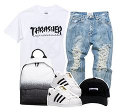 """""""thrasher⚪️⚫️⚪️⚫️"""" by clinne345 ❤ liked on Polyvore featuring HUF, McQ by Alexander McQueen and adidas"""