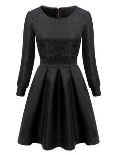 Black High Waist Lace Crochet Long Sleeve Skater Dress