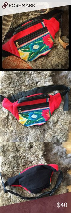 ✨SALE✨Funky Boho Waist Purse/ Fanny Pack Funky, bright, hippy festival waist purse/ money belt/ fanny pack with traditional Aguayo Textile found thorughout the rural tribal regions of Peru from Andean tribal people. The bag is great for festivals, holidays, travelling, clubbing, hiking or to brighten up day to day living! Funky bright designs Size: 26cm at top x 14cm at bottom 7cm wide at top 2 compartments: Inner hidden zip compartment Outer zip compartment. Adjustable strap with click…
