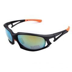 d72ec2ff63d Cycling Sport Biking Polarized Sunglasses Mens Wrap Around Polished Matte  Black Orange Frame Colorful Lens