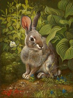 Artist: Yana Movchan Title: Rabbit in the Garden Art And Illustration, Some Bunny Loves You, Rabbit Art, Wild Rabbit, Bunny Rabbit, Bunny Art, Funny Bunnies, Woodland Creatures, Wildlife Art