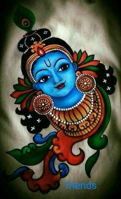 # krishna Kerala Mural Painting, Indian Art Paintings, Lord Shiva Painting, Ganesha Painting, Kalamkari Painting, Madhubani Painting, Krishna Art, Krishna Drawing, Lord Krishna Sketch