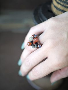 Electroformed Copper Five Stone Stacker Ring  Made by pookaqueen, $52.00