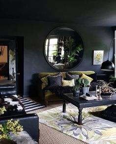 Dark Bohemian Goth living room with dark walls and ceiling, green velvet sofa and lots of bright acid green. Source by Dark Living Rooms, My New Room, Living Room Sofa, Rugs In Living Room, Home And Living, Living Room Decor, Living Spaces, Room Rugs, Dark Rooms