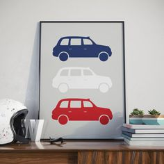 London Black Cab Print. A3 Poster. Vintage modern design. Want to give your room a buzz? Or just a nice gift? This is the poster for you!  Not a fan