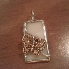 Upcycled Jewelry Stained Opaque White Glass Butterfly by amylaugh, $14.95