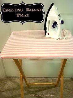 Tray turned into an #Ironing Board #sewlicioushomedecor.com