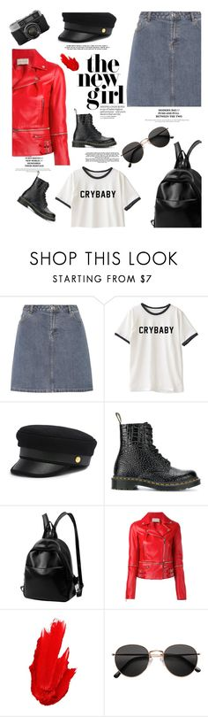 """leather jacket"" by themarshmallowmadness ❤ liked on Polyvore featuring A.P.C., Henri Bendel, Dr. Martens, Christopher Kane, Maybelline and H&M"