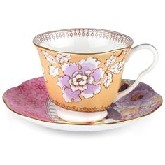 Wedgwood - Butterfly Bloom Teacup & Saucer Yellow | Peter's of Kensington