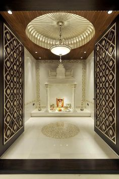 Get ideas and tips on how to make beautiful design of pooja room within a house. These pooja rooms can be created in living room, hall, bedroom or kitchen. Temple Room, Home Temple, Temple Bali, Juno Temple, Home Interior Design, Home Design, Design Ideas, Design Interiors, Interior Decorating