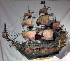 "By Anatoly "" Queen Anne's Revenge "" Material: wood "" Scale 1/55 Scratch build"