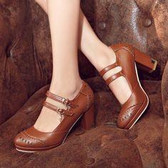 MissSaSa Damen Zwei Knöchelriemchen high-heel Plateau Pumps klassisch Blockabsatz runde Spitze Schnalle Kleidschuhe: Amazon.de: Schuhe & Handtaschen